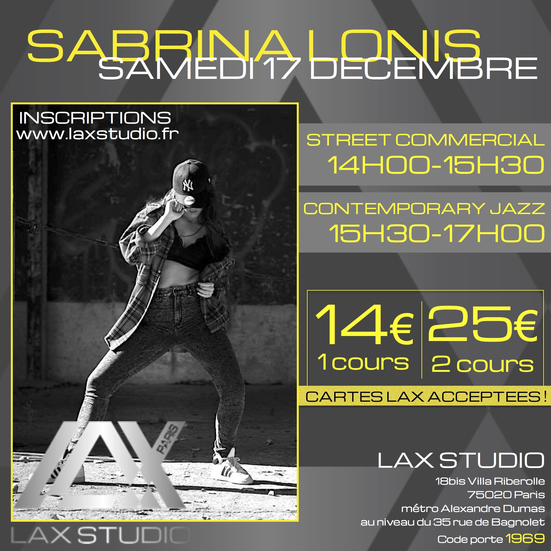 stage avec sabrina lonis le samedi 17 d cembre 2016 lax studio. Black Bedroom Furniture Sets. Home Design Ideas