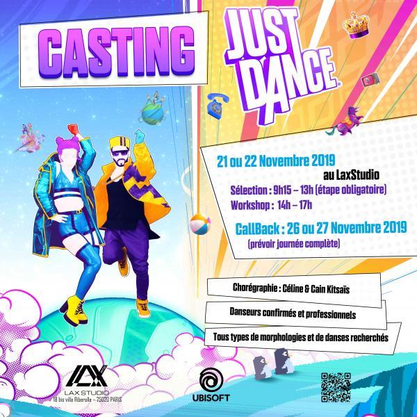 AUDITION CASTING JUST DANCE UBISOFT ecole school paris lax studio cours class hip hop danse