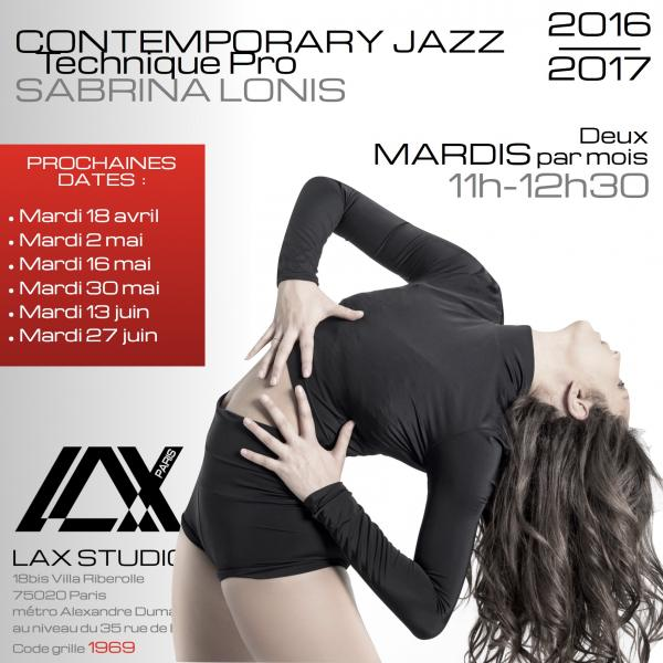sabrina lonis contemporain jazz contemporary technique pro ecole school paris lax studio cours class hip hop danse